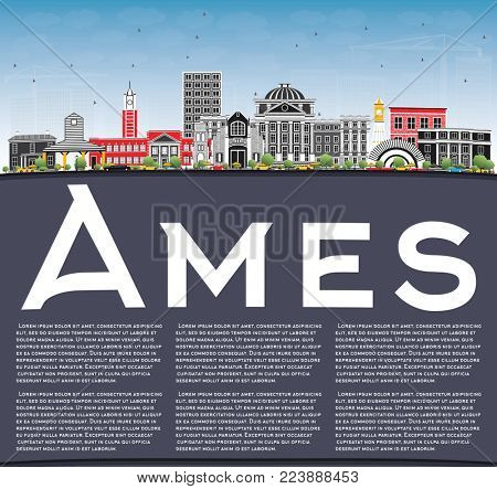 Ames Iowa Skyline with Color Buildings, Blue Sky and Copy Space. Business Travel and Tourism Illustration with Historic Architecture.