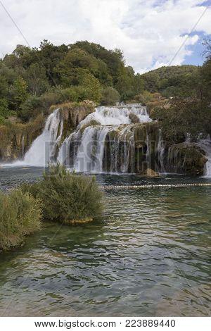 Sibenik, Croatia - August 12 2017: Krka Natural Parkland In Croatia With Its Waterfalls, Nobody Arou