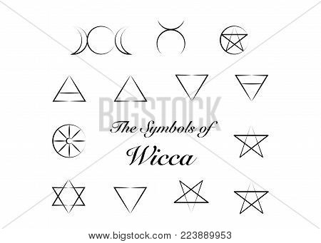 Set of Witches runes, wiccan divination symbols. Ancient occult symbols, isolated on white. Vector illustration.