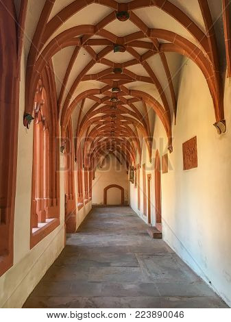 Mainz, Germany - April 2, 2017: Cloister of catholic parish church of St. Stephan in Mainz, Germany