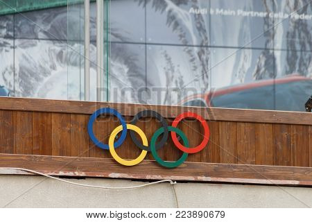 Cortina d'Ampezzo, Italy - May 31, 2017: Olympic rings from 1956 at Olympic Ice Stadium, venue of the Olympic Winter Games 1956