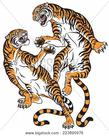 Pair Of Tigers In The Battle . Two Fighting Big Cats . Tattoo Style Vector Isolated Illustration
