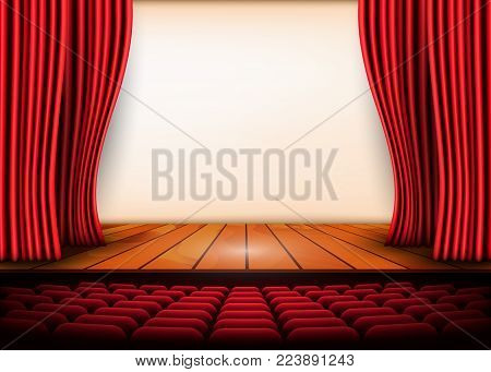 Theatrical scene with red curtains and wooden floor. Stock vector illustration.