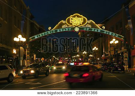 SAN DIEGO , CA - MAY 05 : Sign at the entrance to the Gaslamp Quarter in downtown San Diego,California on May 05, 2014. Historical district, features a bustling entertainment scene with bars and restaurants.