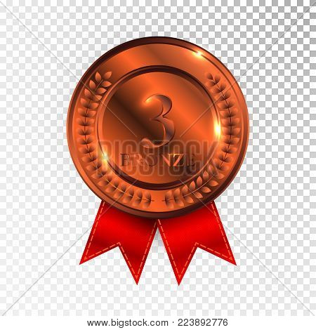 Champion Bronze Medal with Red Ribbon Icon Sign. Third Place Collection Set Isolated on Transparent Background. Vector Illustration.