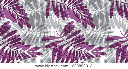 Gray and violet tropical seamless pattern vector illustration for card, invitation, poster, header. Exotic forest leaves motif for surface design, fabric, wrapping paper.