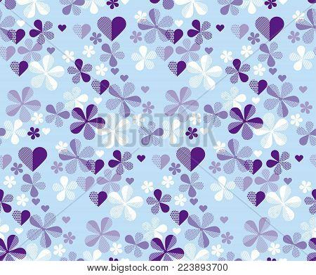 Abstract geometric floral seamless pattern for surface design. Spring blossom flowers in pastel tender color. Vector illustration.