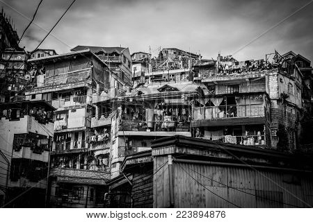 Black And White Image Of Barrio In Baguio City, Philippines Taken 10jan2018.  The Image Depicts The