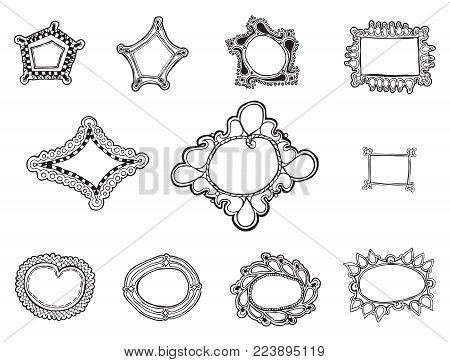 Eleven whimsically organic hand drawn frames vectors