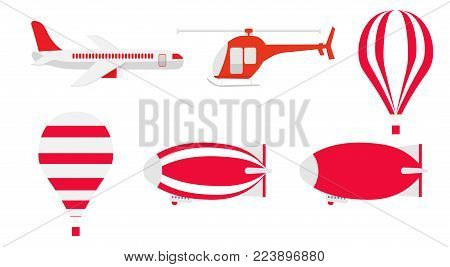 A set of transport for aeronautics. Set of aviation icons in flat style. Includes an air balloon, an airplane, a helicopter and an airship (Zeppelin). Template for banner and web. Isolated on white.