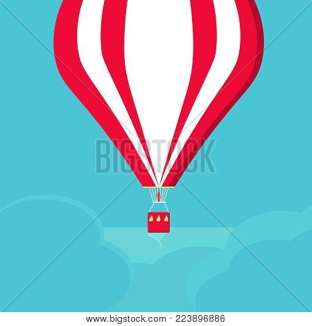 A balloon flying in the clouds. An aeronautic vehicle. A red and white air balloon on a blue background. The concept of vacation, travel. Romantic concept. Airship trip. Template for banner and web.