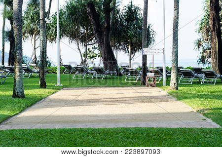 The Sun Beds At A Garden With Petanque Ground In Resort.
