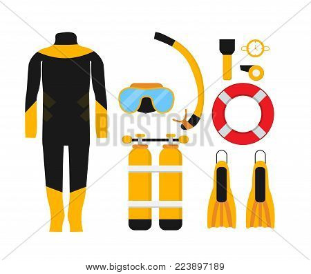 Diving equipment set. Collection of scuba diving. Aqualung, oxygen cylinders, depth gauge, snorkel and mask, flippers, speargun. Underwater sport. Flat vector illustration. Isolated on white.
