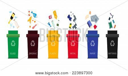 Separation dustbins with organic, paper, plastic, glass, metal waste and batteries. Different types of garbage in a cartoon flat style. Concept of recycling segregation of types of garbage. Vector.