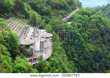 Power plant in Verzasca valley, Switzerland