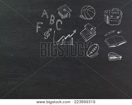 back to school , written on a blackboard. (with free space for text)