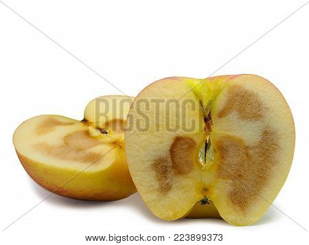 rotten apple fruit , isolated on white background. (clipping path)