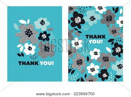 Turquoise color abstract floral pattern for surface design. Motif with stylized flowers for card, invitation, header, poster. Geometric black and white texture in floral design.