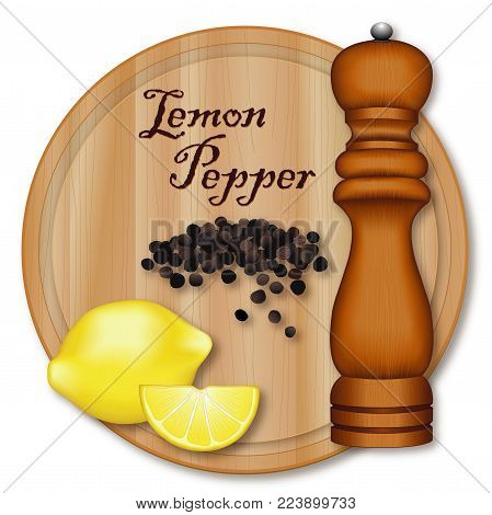 Lemon Pepper, popular seasoning made from lemon zest and cracked peppercorns. Lemon and wedge, black peppercorns, dark wood pepper mill, wood cutting board with wood grain detail, isolated on white background.