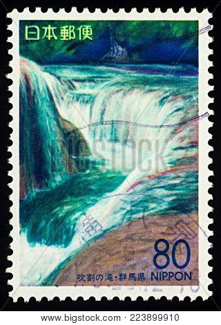 Moscow, Russia - January 27, 2018: A stamp printed in Japan shows waterfall, series