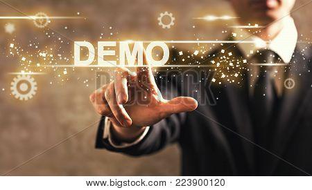 Demo text with businessman on dark vintage background