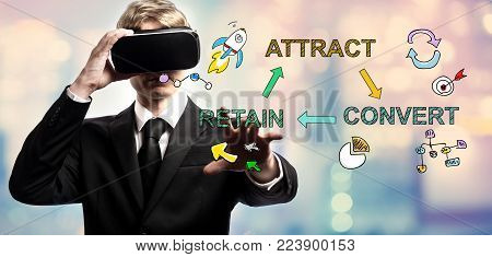 Attract Convert Retain text with businessman using a virtual reality headset