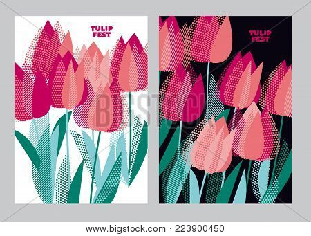 Abstract modern vivid floral motif for surface design. Cool spring pattern with geometric decorative pink tulip flowers. Greeting card the beginning of spring; vector illustration of pink tulips bunch with green leaves