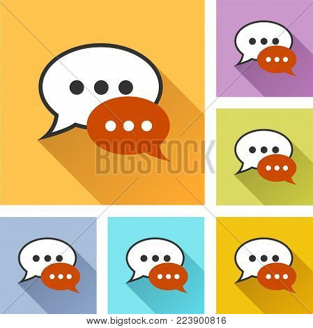 Illustration of speech bubble colorful set icons