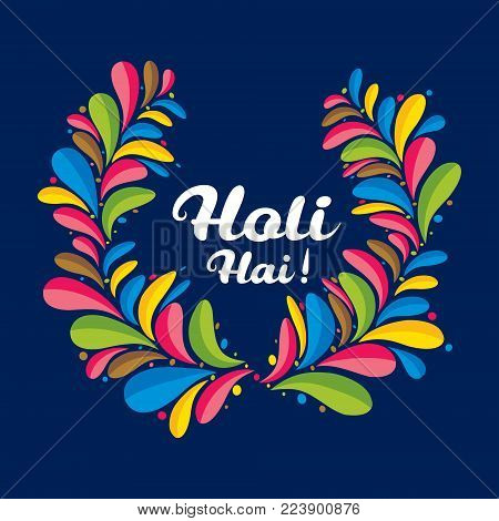 colorful holi festival of india, holi hai festival greeting card design
