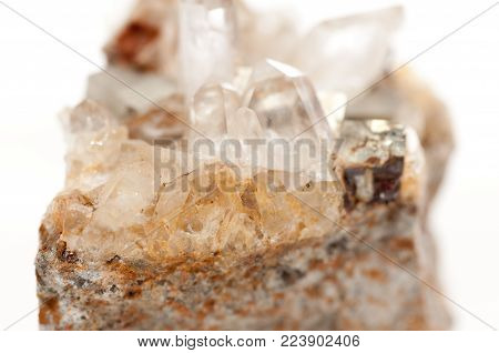 large dirty quartz crystal mineral sample with many facets