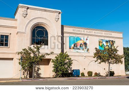 SAN DIEGO, CALIFORNIA - JANUARY 26, 2018: Fleet Science Center, established in 1973, is a science museum and planetarium in Balboa Park, an urban cultural park and popular tourist destination.