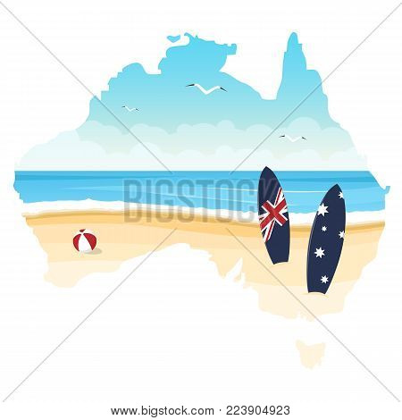 Contour of Australia with ocean, beach and surfboards isolated on a white background. Day of Australia. Vector illustration.