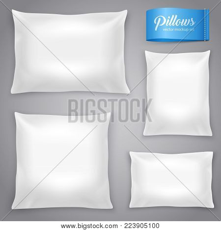 White realistic inner cushions pillows set with filling for soft support rectangular and square models vector illustration