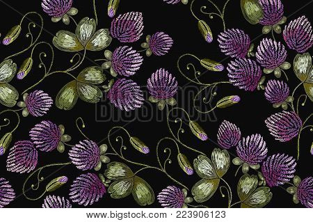 Embroidery pantone clover seamless pattern. Classical beautiful flowers clover. Fashionable template for design of clothes