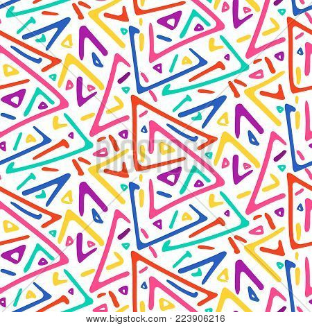 Light colorful sketch triangles tribal seamless pattern. Trendy fashion vector geometric texture with doodle hand drawn shapes for textile, wrapping paper, cover, surface, wallpaper, background