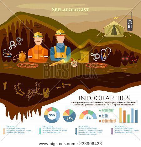Speleology spelunker infographic elements, study of underground caves vector illustration