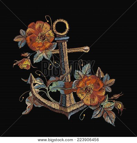 Embroidery vintage anchor and red roses embroidery. Classical fashionable embroidery anchor, beautiful red bouquets of roses template for clothes, textile t-shirt design