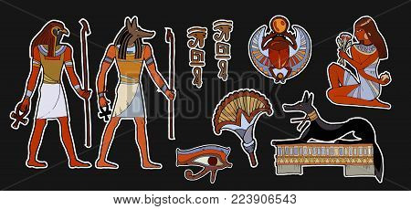 Ancient egypt fashion patch . Pharaoh, gods of Egypt, Anubis, Ra. Stickers, patches in cartoon 80s-90s comic style. Egyptian gods and pharaohs patch, ancient civilization, stickers art