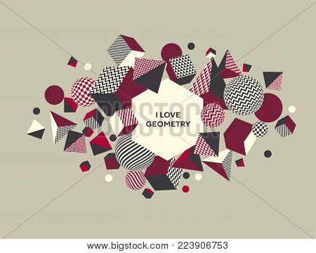 Abstract 3d geometric pattern. Volume illusion geometry shapes motif in vintage style. Graphic element for surface design, cover, header, poster.