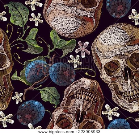 Classical embroidery blossoming plum and human skull. Embroidery plums branch seamless pattern template fashionable clothes, t-shirt design