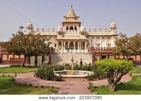 Jodhpur, India - Mar 6, 2012. People Visit Jaswant Thada In Jodhpur, India. Jaswant Thada Was Built