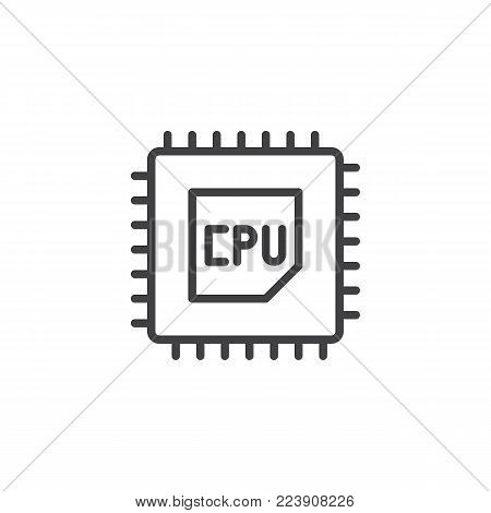 CPU processor line icon, outline vector sign, linear style pictogram isolated on white. Computer chip symbol, logo illustration. Editable stroke