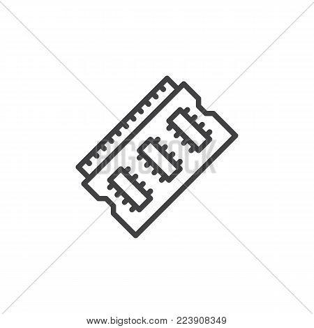 Ram memory line icon, outline vector sign, linear style pictogram isolated on white. Random access memory symbol, logo illustration. Editable stroke