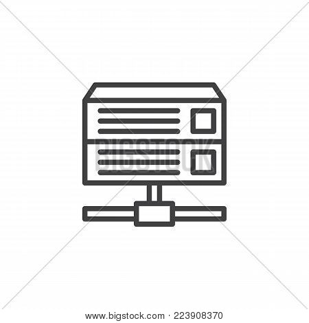 Database server line icon, outline vector sign, linear style pictogram isolated on white. Computer rack server symbol, logo illustration. Editable stroke