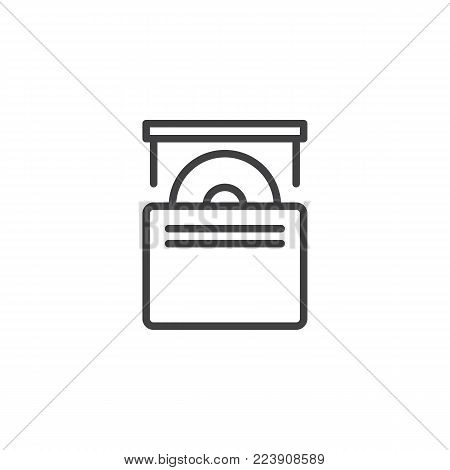 CD drive line icon, outline vector sign, linear style pictogram isolated on white. Optical compact disc drive symbol, logo illustration. Editable stroke