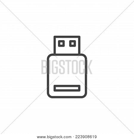 USB flash drive line icon, outline vector sign, linear style pictogram isolated on white. Memory stick symbol, logo illustration. Editable stroke