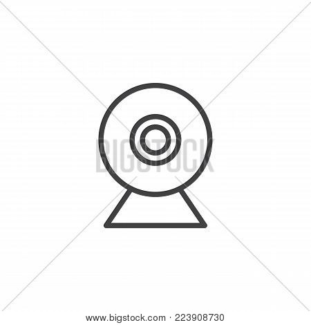 Webcam line icon, outline vector sign, linear style pictogram isolated on white. Web camera symbol, logo illustration. Editable stroke