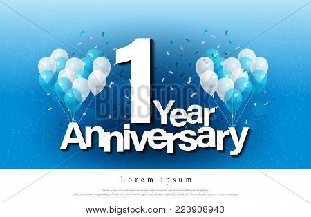 1st year anniversary greeting card lettering template with balloon and confetti. Design for invitation card, banner, web, header and flyer. vector illustrator
