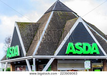 Northampton UK January 06 2018: Asda Superstore logo sign exterior.