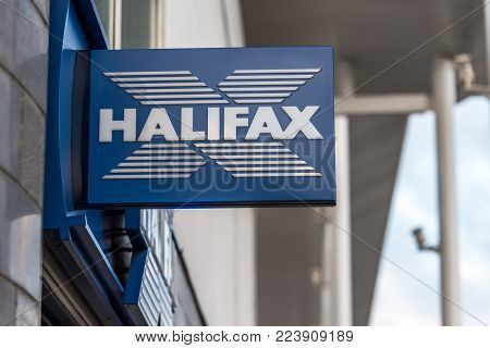 Northampton UK January 06 2018: Halifax logo sign post.